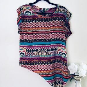 Tribal Shirt with Asymmetrical Hem